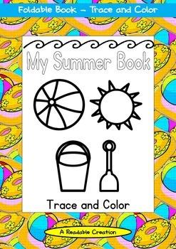 Summer Foldable Book - Trace and Color {FREEBIE}
