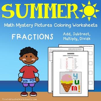 Summer Fractions Coloring Worksheets
