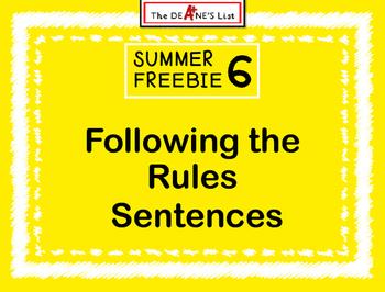 Summer Freebie 6: Following the Rules Sentences