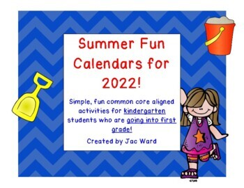 Summer Fun Activity Calendar for Kindergarteners going int