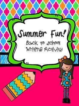 Summer Fun! Back to school writing activity