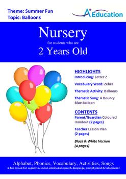 Summer Fun - Balloons : Letter Z : Zebra - Nursery (2 years old)