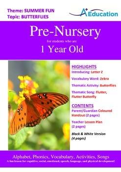 Summer Fun - Butterflies : Letter Z : Zebra - Pre-Nursery