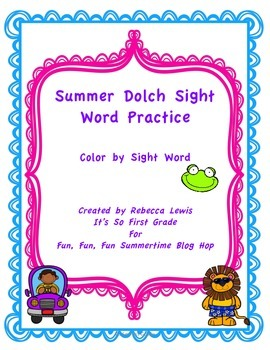 Summer Fun Color by Dolch Sight Word