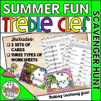 Summer Fun Scavenger Hunt (Treble Clef)