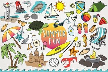 Summer Fun - Summer and Beach Clip Art Illustration Set