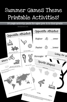Summer Games Theme Printable Activities