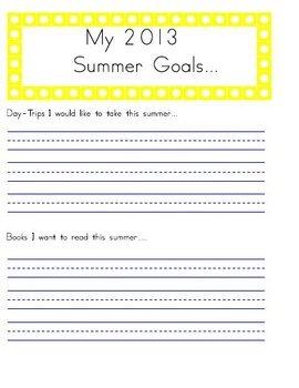 Summer Goals Handwriting Worksheet Manuscript (Zaner-Bloser)