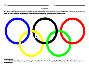 Summer Goals:  Olympic Theme