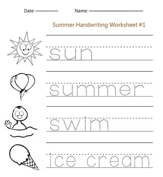 Summer Handwriting Worksheet #1