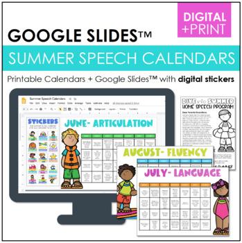 Summer Homework Calendars for Speech {Articulation, Langua