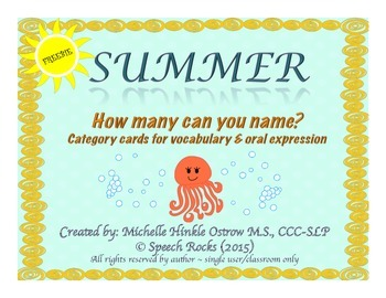 Summer ~ How Many Can You Name? Conversation & Oral Expres