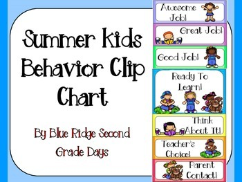 Summer Kids Behavior Clip Chart