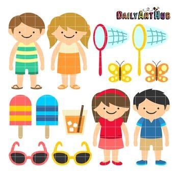 Summer Kids Clip Art - Great for Art Class Projects!
