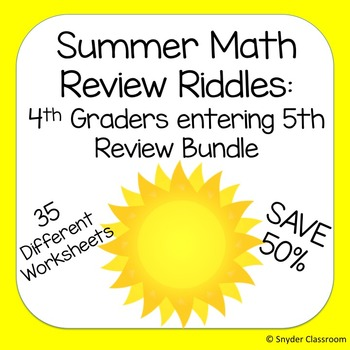 Summer Math - 4th graders going on to 5th grade