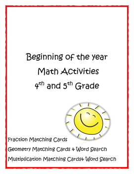 Beginning of the Year Math Activities