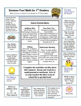 Summer Math Activities to Help You Prepare for 2nd Grade Math