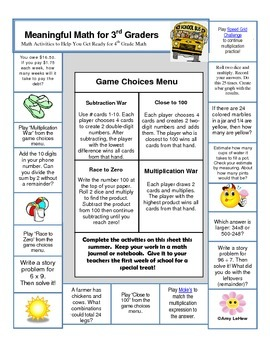 Summer Math Activities to Help You Prepare for 4th Grade Math