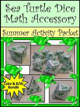 Summer Math Activity: Sea Turtle Dice Templates