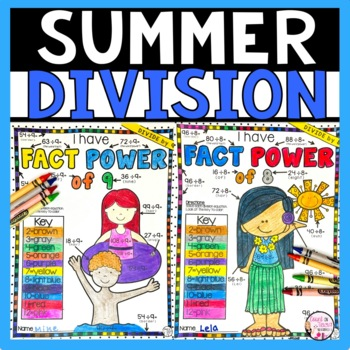 Summer Math Division Color by Number