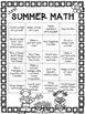 Summer Math (Journal and Math Monthly Chart)