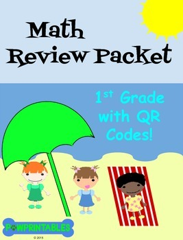 Math Review Packet - 1st Grade - with QR Codes! NO PREP! C