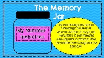 Summer Memory Jar Writing Activity