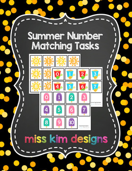 Summer Number Matching Folder Games for Early Childhood Sp