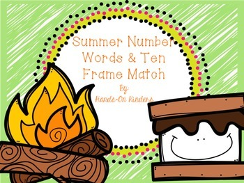 Summer Number Words and Ten Frame Match