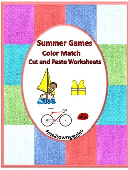 Summer Games No Prep Cut and Paste Color Match Printables
