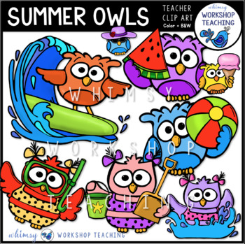 Summer Owls Clip Art - Whimsy Workshop Teaching