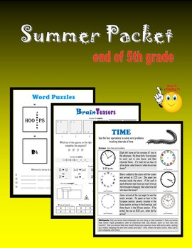 Summer Packet:  end of 5th grade