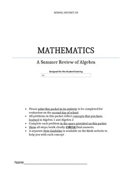 Summer Packet for entering Precalculus