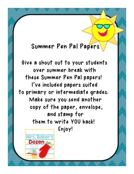 Summer Pen Pal Papers