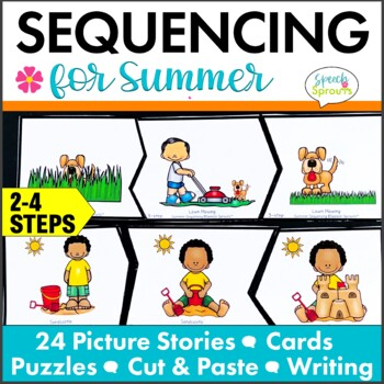 Summer Picture Story Sequencing, Retell and Write