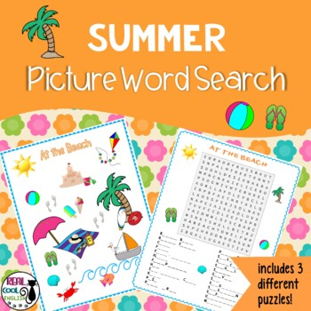 Summer Picture Word Search Puzzles (more challenging)