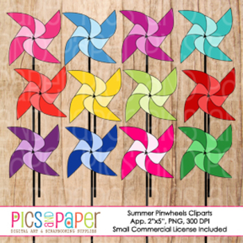 Summer Pinwheels Digital Cliparts