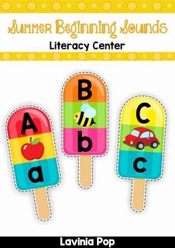 Summer Popsicle Beginning Sounds FREE Literacy Center