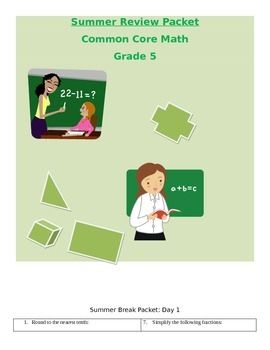 Summer Practice Packet 5th grade math Common Core