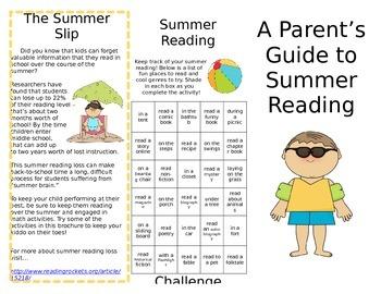 Summer Reading Brochure for Parents