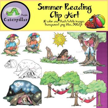 Summer Reading Clip Art for Upper Elementary or Middle School