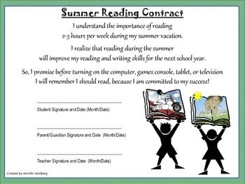 SUMMER READING CONTRACT with Feedback Form - From 3rd Grade