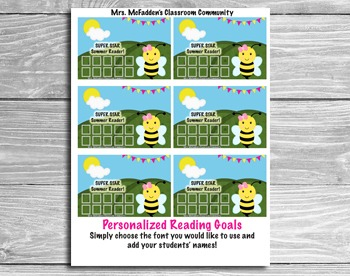Summer Reading Incentive Cards- Editable!  Add your Studen