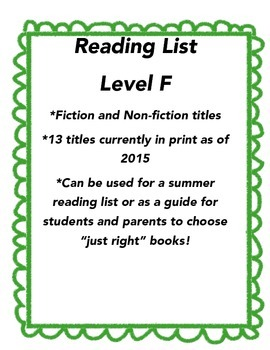Summer Reading List - Guided Reading Level F