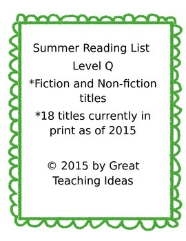 Summer Reading List - Guided Reading Level Q