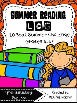 Summer Reading Log for Upper Elementary Students