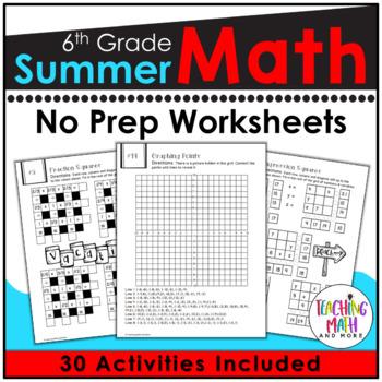 Summer Review NO PREP Math Packet – 6th to 7th Grade