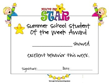Summer School Student of the Week Award Set