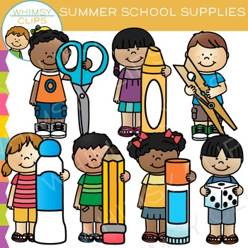 Kids School Supplies for Summer Clip Art