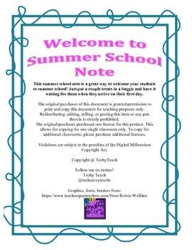 Summer School Welcome Note